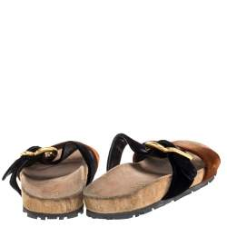 Prada Brown/Black Velvet And Leather Double Strap Sandals Size 37.5