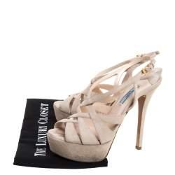 Prada Cream Suede Strappy Platform Slingback Sandals Size 37.5