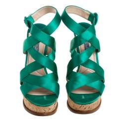 Prada Emerald Green Satin Criss Cross Cork Wedge Sandals Size 39