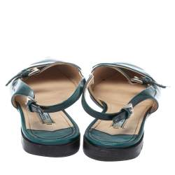 Prada Green Patent Leather Cut Out Buckle Slingback Flat Sandals Size 37.5