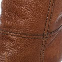 Prada Brown Leather Knee Length Boots Size 38