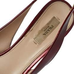 Prada Burgundy Patent Leather Platform Slingback Sandals Size 38.5