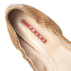حذاء باليرينا فلات برادا مجعد مزين فيونكة جلد ثعبان بيج مقاس 36.5