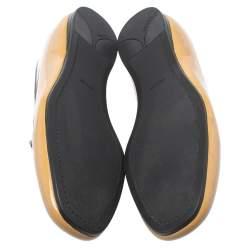 Prada Beige Patent Leather Smoking Flat Slippers Size 38.5