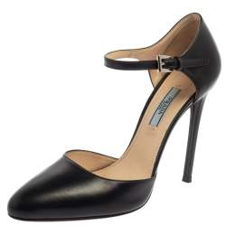 Prada Black Leather D'orsay Ankle Strap Pumps Size 37.5