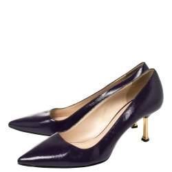 Prada Blue Saffiano Leather Pointed Toe Pumps Size 37.5
