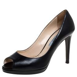 حذاء كعب عالي برادا مقدمة مفتوحة جلد أسود مقاس 37