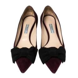 Prada Burgundy Suede Bow Pointed Toe Pumps Size 40.5