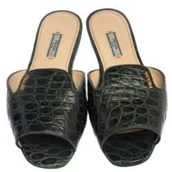 Prada Bottle Green Croc Embossed Leather Flat Slides Size 39.5