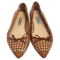 Prada Tan Woven Leather Raffia Ballet Flats Size 39