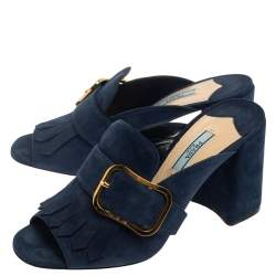 Prada Blue Suede Fringe Open Toe Sandals Size 38.5