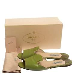 Prada Apple Green Saffiano Patent Leather Slide Sandals Size 40.5