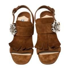 Prada Brown Suede Leather Flower Embellished Fringe Detail Slingback Sandals Size 38.5