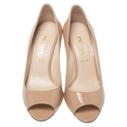 Prada Beige Patent Leather Peep Toe Pumps Size 38