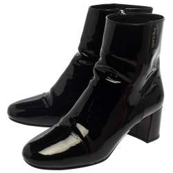 Prada Black Patent Leather Zip Detail Ankle Boots Size 38