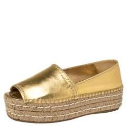 Prada Metallic Gold Leather Peep Toe Platform Espadrilles Size 37.5