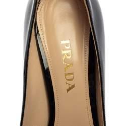 Prada Black Patent Leather Peep Toe Pumps Size 38.5