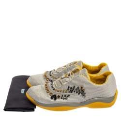 Prada Grey Mesh Embellished Low-Top Sneakers Size 40