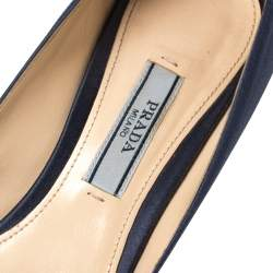 Prada Blue Satin Embellished Pointed Toe Pumps Size 36