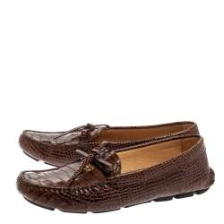 Prada Brown Croc Embossed Leather Loafers Size 38.5