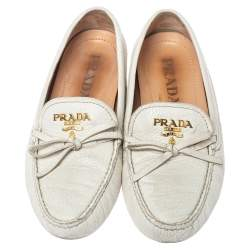 Prada White Leather Bow Loafers Size 37.5