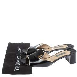 Prada Black Saffiano Patent Leather Slide Sandals Size 38