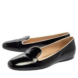 Prada Black Patent Saffiano Leather Slip On Smoking Loafers Size 38