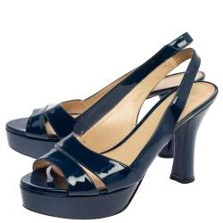 Prada Blue Patent Leather Platform Slingback Sandals Size 40
