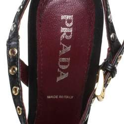 Prada Black Leather Stud Embellishment Ankle Strap Sandals Size 36