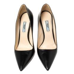 Prada Black Leather Pointed Toe Pumps Size 39