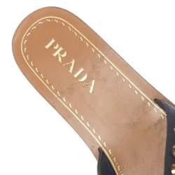 Prada Blue Leather Studded Flat Slides Size 37.5