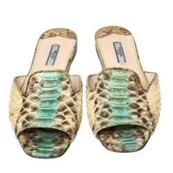Prada Multicolor Python Leather Flat Slides Size 38.5