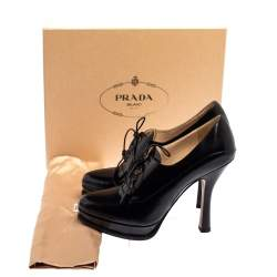 Prada Black Leather Lace Up Booties Size 40