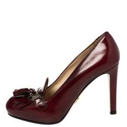 Prada Currant Red Leather Tassel Pumps Size 38