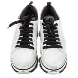 Prada White Leather  Linea Rossa Platform Sneakers Size 38.5