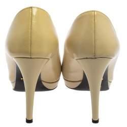 Prada Cream Leather Pointed Toe Platform Pumps Size 38