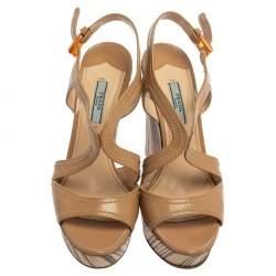 Prada Beige Patent Leather Wooden Wedge Sandals Size 38