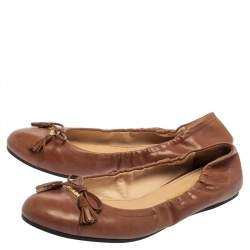 Prada Tan Leather Bow Ballet Flats Size 38.5