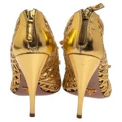 Prada Gold Leather Cut Out Open Toe Booties Size 41