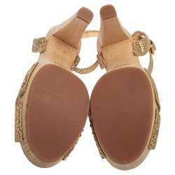 Prada Gold Python Ankle Strap Platform Sandals Size 41