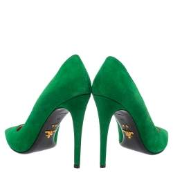 Prada Green Suede Pointed Toe Pumps Size 39
