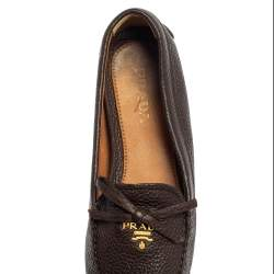 Prada Brown Leather Bow Loafers Size 38