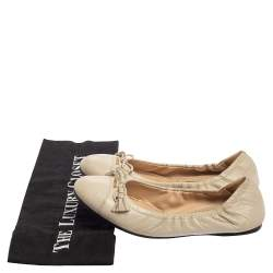 Prada Off White Leather Bow Scrunch Ballet Flats Size 36.5
