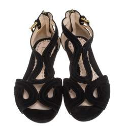 Prada Black Suede Sandals Size 37