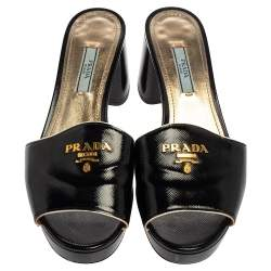 Prada Black Saffiano Patent Leather Block Heel Sandals Size 38