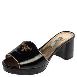 Prada Black Saffiano Patent Leather Block Heel Sandals Size 38