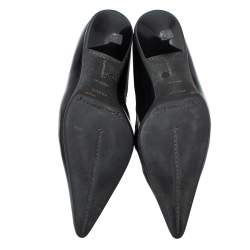 Prada Black Patent Leather Ankle Booties Size 37.5