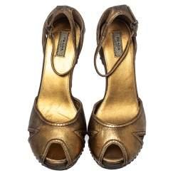 Prada Gold Leather Peep Toe Ankle Strap Platform Sandals Size 38