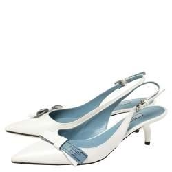 Prada White Leather Bow Pointed Toe Slingback Sandals Size 37