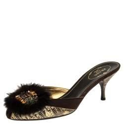 Prada Tricolor Lizard And Suede Embellished Slide Sandals Size 37
